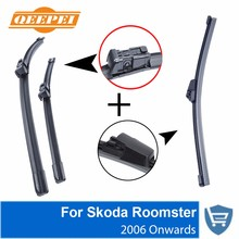 QEEPEI Front and Rear Wiper Blade no Arm For Skoda Roomster 2006 Onwards High quality Natural Rubber windscreen 21''+21''