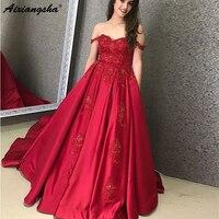 Бальное платье с открытыми плечами милое темно красный орнамент длинные платья с карманами ислам Дубаи Саудовской Аравии длинное вечернее