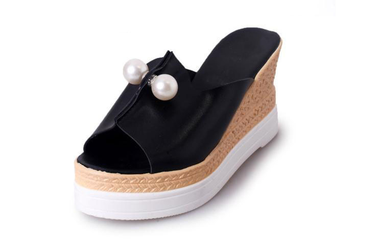 New fish mouth high-heeled shoes sexy summer a flip flops female wedge waterproof thick bottom cool slippers fashion 2016 summer new leather tendon at the bottom side of the empty fish head crude rainbow low heeled shoes women xtf039