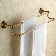 купить Antique Brass Wall Mounted Bathroom Bath Double Towel Rack Bar Hotel Home Clothes Towel Holder KD646 недорого
