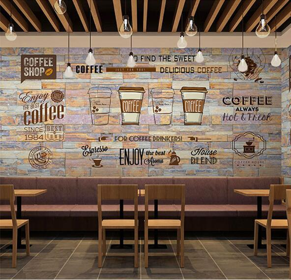 3d mural photo wallpaper art wall decor personalize large for Mural coffee shop