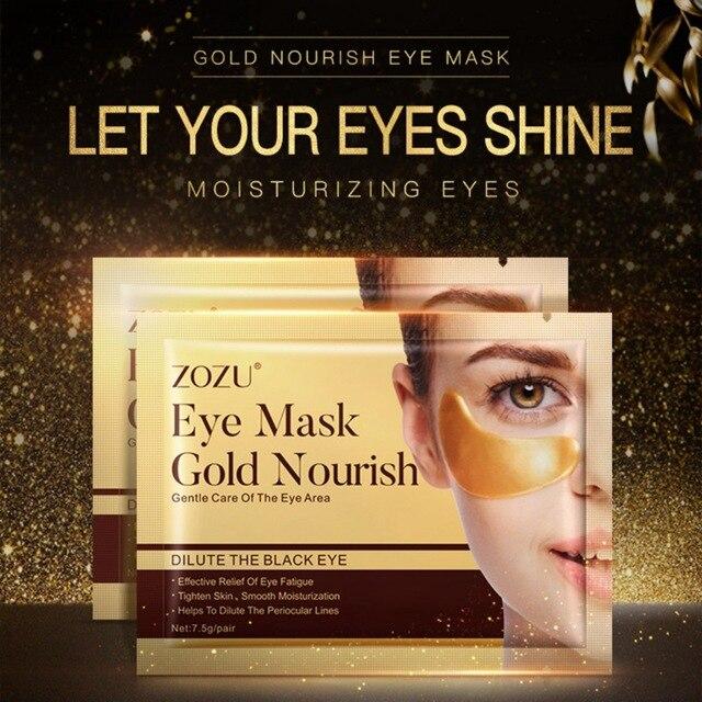 10 piezas de cristal de oro colágeno máscara de ojo oscuro círculos acné parches Anti-envejecimiento arrugas removedor de la máscara de ojo