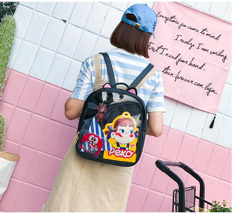 Lovely Cat Ear Leather Backpacks Candy Color Transparent Bag Women Shoulder Bags  School Teenage Girls Travel Bagpack Summer Candy Transparent Love Heart ... d54b20d49b02f