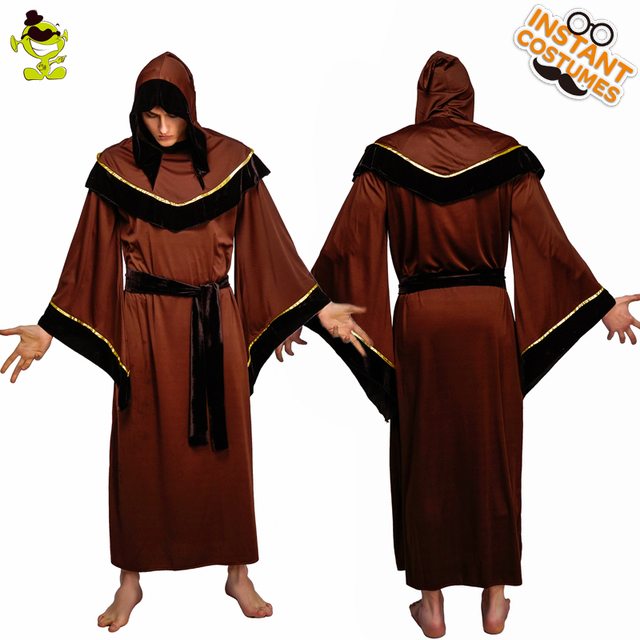 QLQ Adult Men s Grim Reaper Costume Role Play Brown Robe Halloween Party  Performance Grim Reaper Costumes for Purim Party 1ace1463d