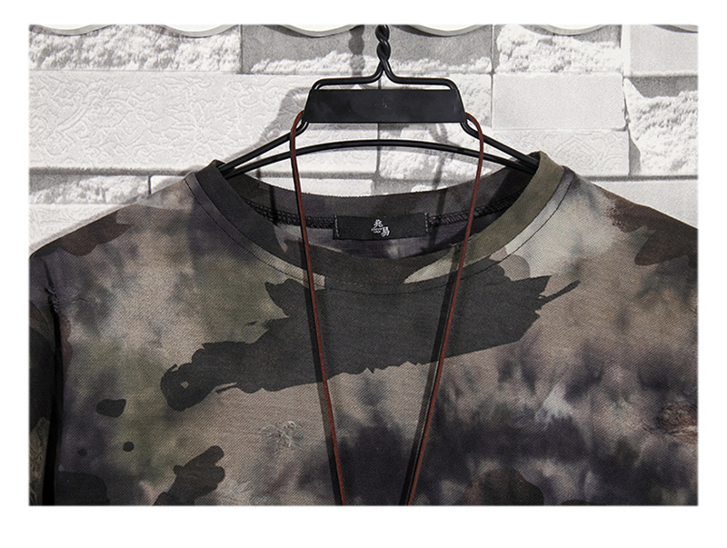 Summer New Fashion Retro Print Men T Shirt Camouflage Short-sleeved T-shirt Male Round Neck Loose Large Size T-shirt 13