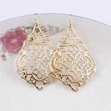 Дизайнерские серьги-капельки золотого и серебряного цвета с филигранными каплевидными кристаллами, серьги с геометрическим вырезом и полым металлическим орнаментом для женщин