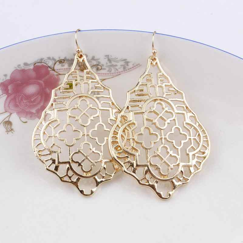 2019 Designer Inspired Gold Silver Filigree Teardrop Drop Earrings Geometric Cutout Hollow Metal Statement Earrings for Women
