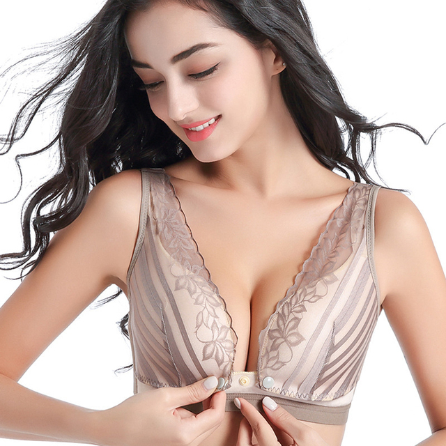 cf436f92c3 Maternity Nursing Tank Bra Sexy Floral Lace Plus Breastfeeding Wirefree Push  Up One Piece Bandeau Bras for Pregnant 34-42 B C