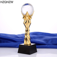 Customized Metal Champions League Trophy With a Crystal Football For World Cup Trophy Sports Souvenirs Soccer Awards Cups