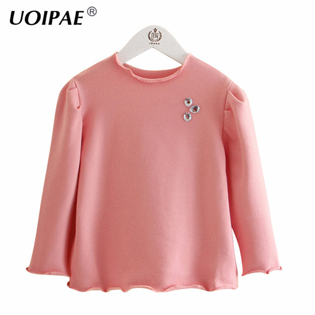uoipae t shirts for girls 2018 autumn casual rhinestones t