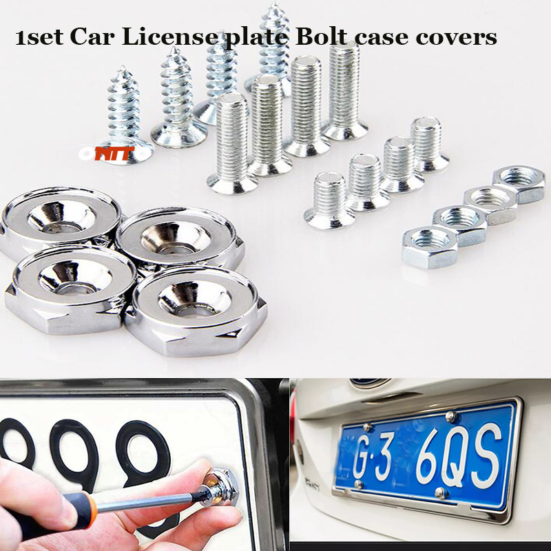 1set Car License plate Bolt case covers Auto accessories Replacement Parts Nuts For bmw benz skoda nissan volvo jeep prosche vw