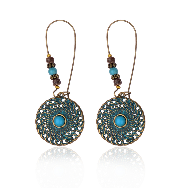 Douvei Womens Round Hollow Out Round Verdigris Dangle Earrings Ethnic Tribe Earings Fashion Jewelry Jhumka Gypsy Hqe806 With The Most Up-To-Date Equipment And Techniques Jewelry & Accessories