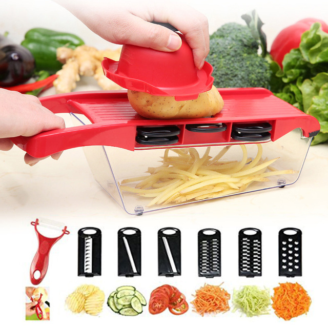 6 in 1 Vegetable Chopper Multi-Functional Grater Vegetable Cutter Sets Food Container Shredders Slicers Kitchen Accessories