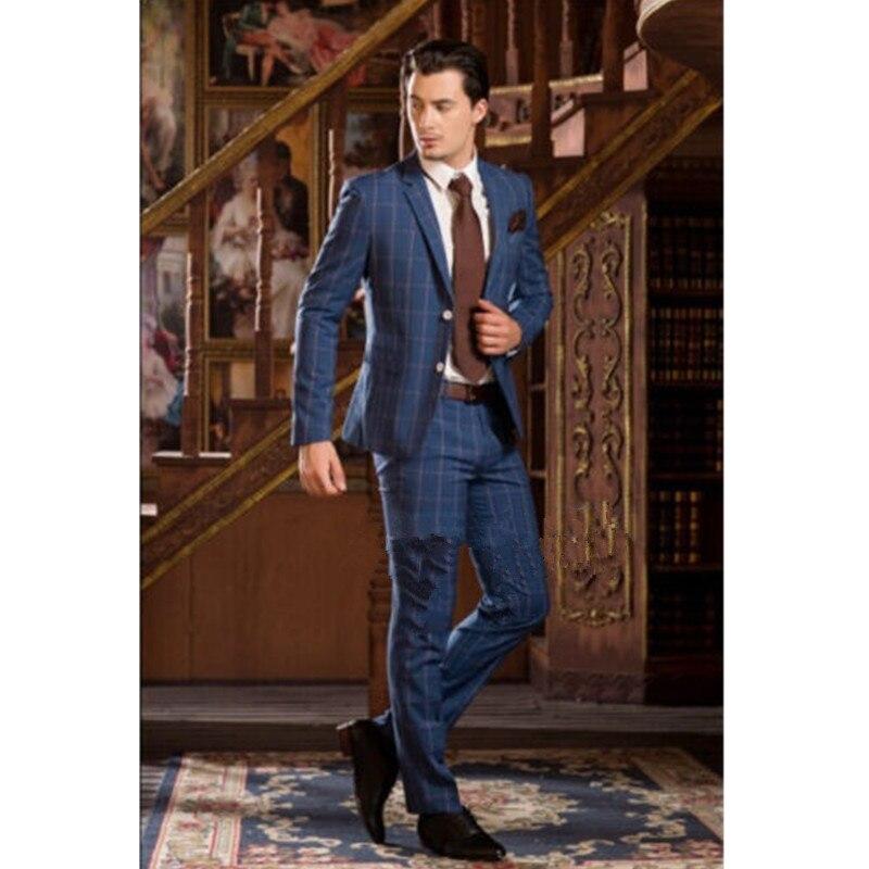 Men's Men's Set Lapel single breasted blue striped men's suit groom tuxedo Slim suit and men's suits custom (jacket + pants)