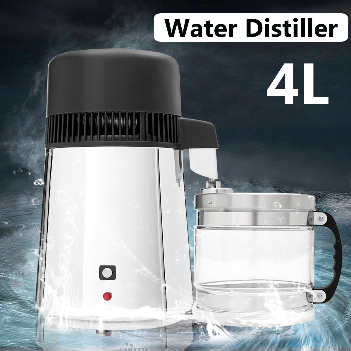 750W 4L Home Pure Water Distiller Stainless Steel Water Distillation Purifier Container Glass Jar for Dental Laboratory Filter