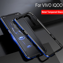 Синий цвет Алюминиевый металлический каркас жесткий прозрачный закаленное стекло Чехлы для VIVO IQOO задняя крышка оболочка для VIVOIQOO защитный чехол
