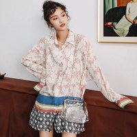 Women Blouses 2019 Floral Print Long Sleeve Turn Down Collar Long Blouse Ladies Shirts Tunic Plus Size Blusas Chemisier Femme