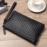 BISON DENIM Genuine Leather Men Wallets Card Money Cowskin Long Purse Brand Zipper Men's Clutch Bag Wristlet Handy Bag N8205 1