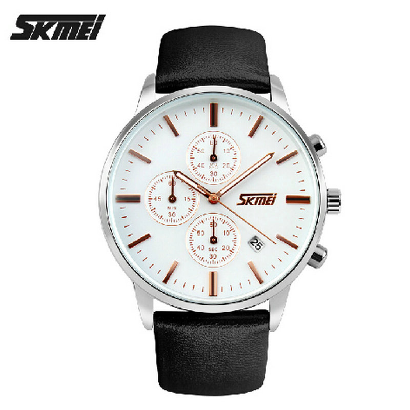 ФОТО man casual wirstwatch leather strap analog watch with day date time