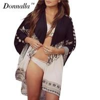 Donnalla Women Chiffon Kimono Cardigan Open Summer Blusas Kimono Long Sleeve Blouses Print Ladies Blouse Beach