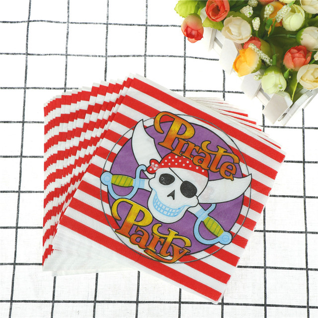 Disposable Waterproof Pirate Striped Plastic Tablecloth Table Cover Paper Napkin For Festival Party Decoration