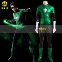 Green Lantern Costume Hal Jordan Deluxe Muscle Chest Fancy Dress Costume Superhero Comics Mens Halloween