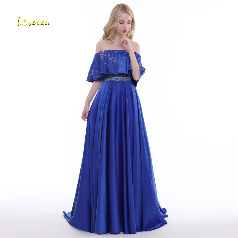Loverxu Romantic Boat Neck Short Sleeve A-Line   Evening     Dresses   2019 Luxury Beaded Crystal Prom   Dress   Party Gown Vestido de Festa