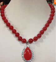 grade latest AAA NEW 8mm Red gem Round Beads Gems Pendant Necklace 18