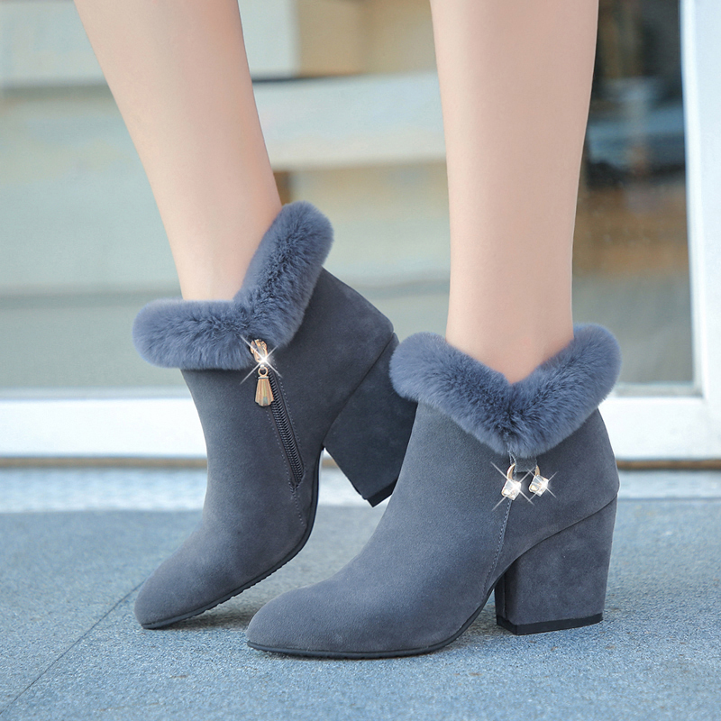 Lucyever 2019 New Women Boots Side Zip Square High Heels Ankle Boots Shoes Woman Autumn Winter Round Toe Faux Fur Snow Boots faux fur knitted bowknot snow boots