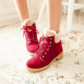 New Arrival Women Boots Scrub Flats Snow Boots Red Lace Up Casual Female Shoes Winter Fur Ankle Boots For Women Zapatos Mujer