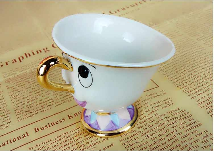 Cartoon Beauty And The Beast Teapot Mug Mrs Potts Chip Tea Pot Cup Set Cogsworth Porcelain Gift 18K Gold-plated Painted Enamel