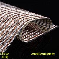 Crystal Mesh Fabric Rhinestone Peach And White Crystal Trim Hotfix 24X40Cm Rhinestones For Clothing Glitter Stones For Dress