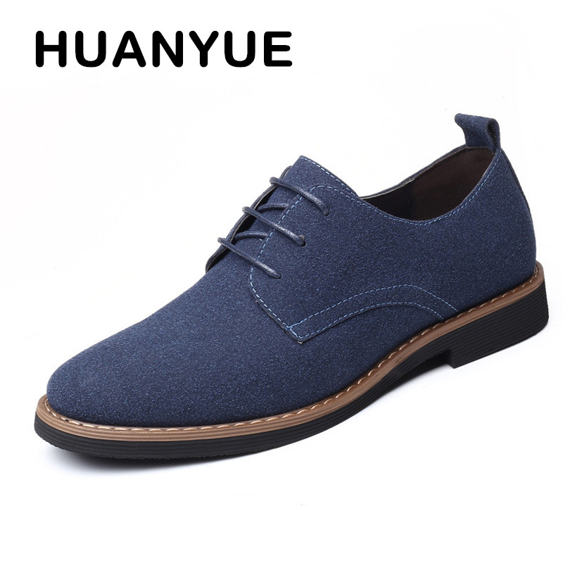 Plus Size 38-48 Men Shoes   Leather   Breathable   Suede     Leather   Men's Casual Shoes Fashion Lace-up Flat Shoes For Men Zapatos Hombre