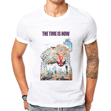 New Arrival Brand White Men Clothing T-Shirt Half Sleeve T Shirt Cheetah Printing Casual Cotton Tops Tee Shirts Blusa Masculina