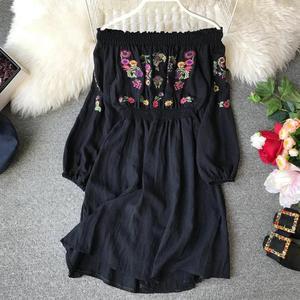 Image 2 - หญิงพลัสขนาดผู้หญิงชุดสัมผัสไหล่เย็บปักถักร้อยโคมไฟ Comfort Slash คอสูงเอว Slim Elegant Vestidos