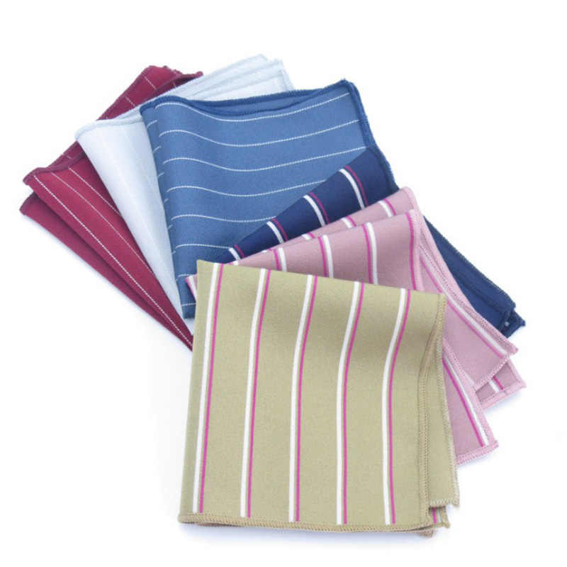 Новые полосатые шарфы Hankerchief мужские хлопчатобумажные носовые платки мужские квадранные Карманные Платки Свадебные аксессуары мужские s Карманный платок