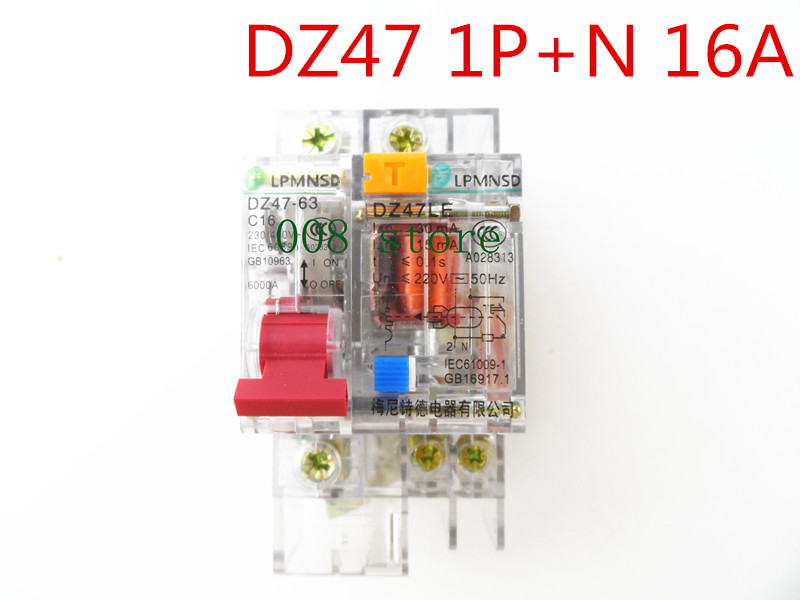 цена на Free shipping DZ47 16A 1P+N Residual current Circuit breaker with over current and Leakage protection RCBO