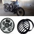 5-3/4 Inch 45W Daymakers Projector LED Headlight + Black Aluminum Headlight Grill Cover For Harley Sportster XL 883 1200