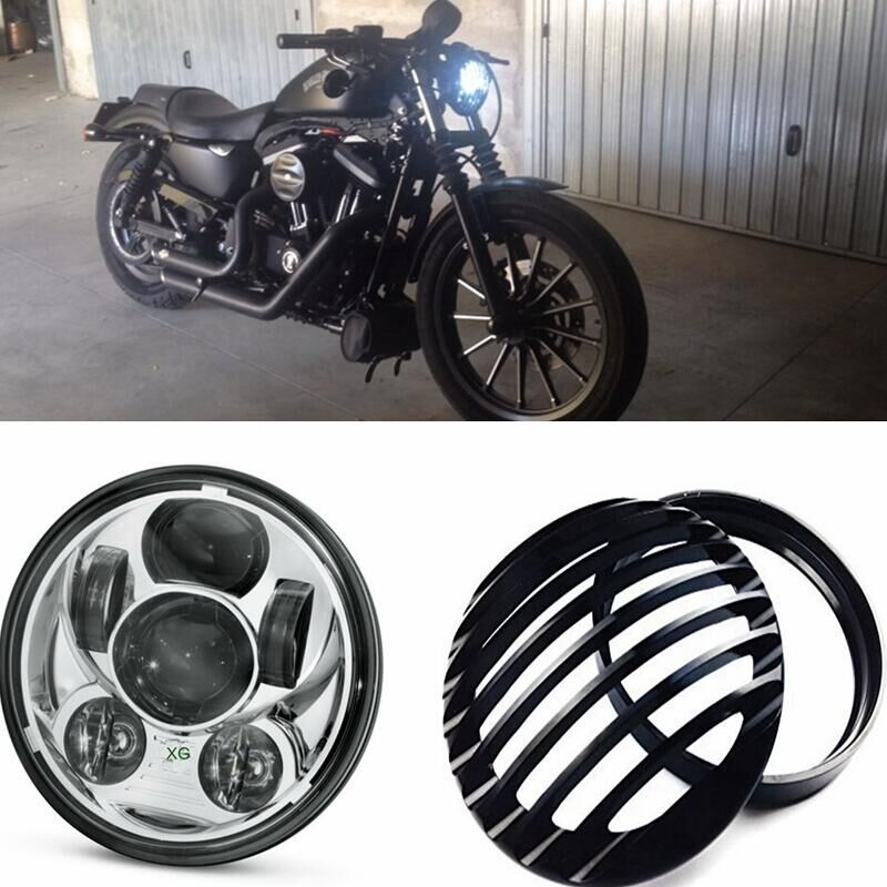 Home Black Aluminum Headlight Grill Cover For Harley Sportster Xl 883 1200 Enthusiastic 5-3/4 Inch 45w Motor Projector Led Headlight