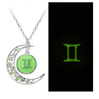 2 Colors Crystal Crescent Moon Gemini Zodiac Sign Constellation Pendant Necklace Horoscope Astrology Disc Necklace Glowing