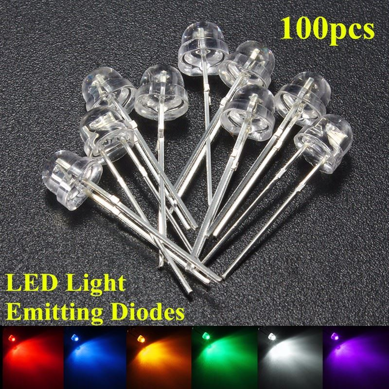DIY 100Pcs 5mm Straw Hat LED Wide Angle Light Emitting Diodes Water Clear 6 Color Red/Blue/Green/Yellow/White/Purple 5mm led diodes red yellow multicolored 40 pcs