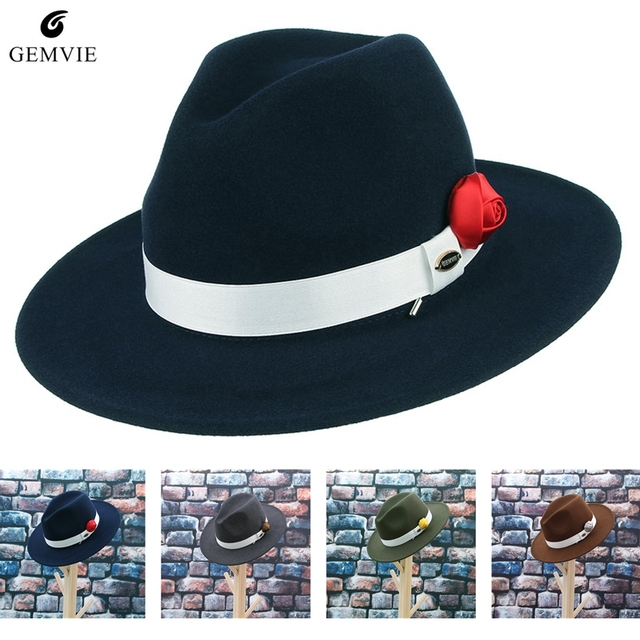 4148336a1c3e6 Men Classical Jazz Cap Fedoras New Fashion White Band Wool Blend Felt Hat  With Rose Brooch Unisex Wide Brim Panama Hat Sunhat