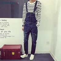 Men S Casual Pockets Denim Bib Overalls Slim Scratched Jumpsuits Jeans