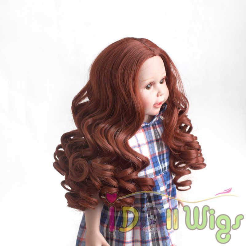 Peluca de rizos en espiral de color borgoña caliente de alta temperatura para muñecas americanas de 18 pulgadas con cabeza de 25-26 cm para niña regalo de cumpleaños