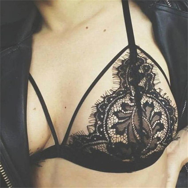 sexy lace bralette flower push up bra women strappy bra female floral brassiere mesh transparent see trough lace bra 4XL KTR#62
