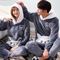 Winter Lovers Couple Pajamas Lounge Set Female Long-Sleeve Coral Fleece Thickening Sleepwear Pullover Indoor Clothing