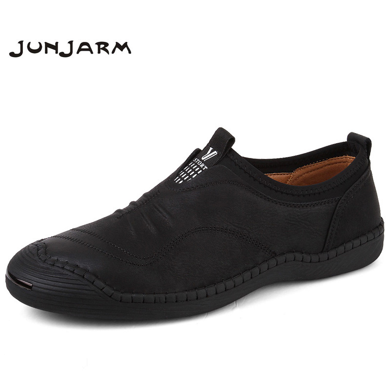 JUNJARM 2018 Spring Handmade Men Casual Shoes Brand Men Loafers Breathable Microfiber Men Flats High Quality Slip-on Men Shoes 2017 brand new men spring fashion breathable slip on shoes stretch fabric light shoes casual flats jogging loafers shoes wb 36