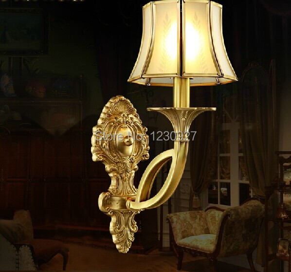 цена на European 3W LED copper wall lamp American living room wall lamp wall lamp bedside lamp bedroom bedside luxurious copper