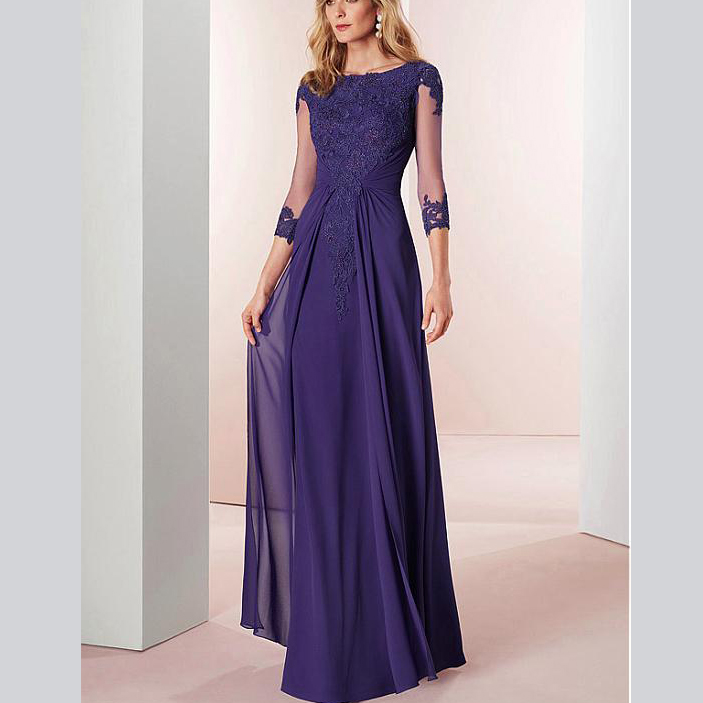 Elegent Three Quarter Scoop Chiffon Cap Sleeves Tulle Appliques Custom-made Mother Of The Bride Dress Afternoon Wedding