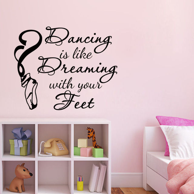 Ballet Shoes Wall Stickers Dancing Is Like Dreaming Lettering Home - Removable vinyl wall decals for home decor